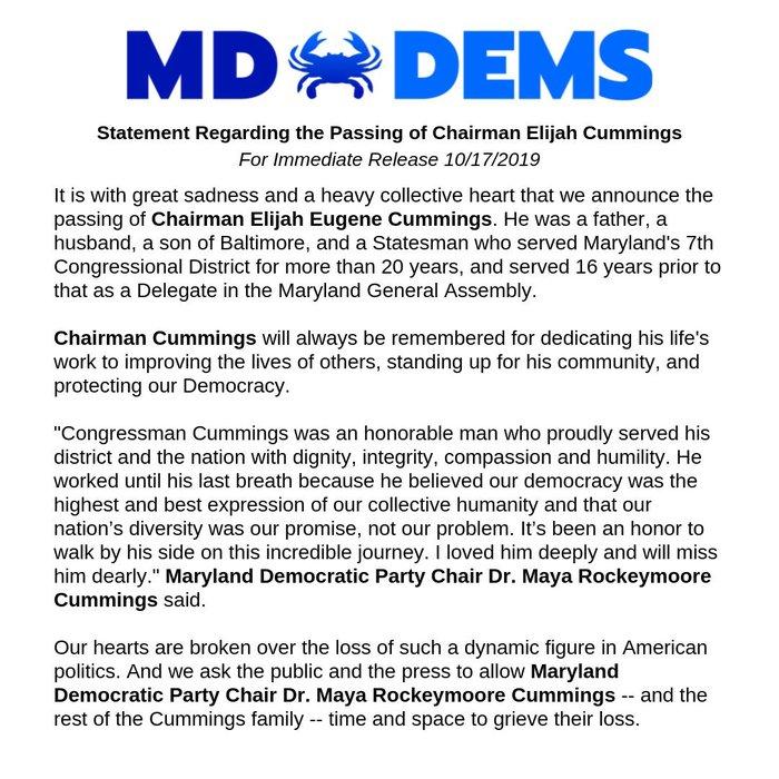 Statement Regarding the Passing of Chairman Elijah Cummings